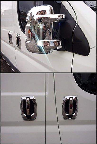 Boxer, Ducato, Jumper y Relé - Cubiertas en ABS cromado para retrovisores, 2 unidades, y tiradores de puerta de acero inoxidable cromados + 4 puertas: Amazon.es: Coche y moto