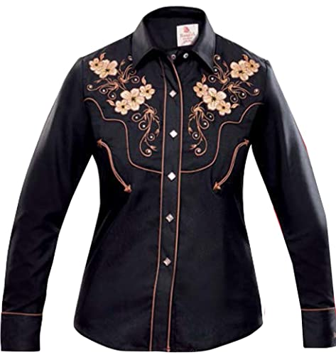 Modestone Women'S Embroidered Fitted Western Camisa Vaquera Floral Horse Black
