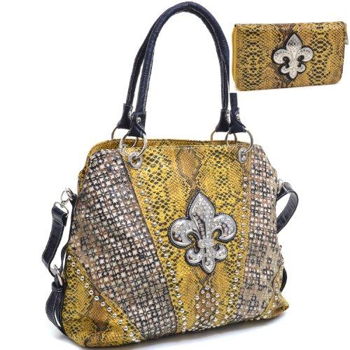 Western Rhinestone Studded Fleur De Lis Adorned Purse Snakeskin Handbag & Cut Out Design With Matching Wallt - Yellow
