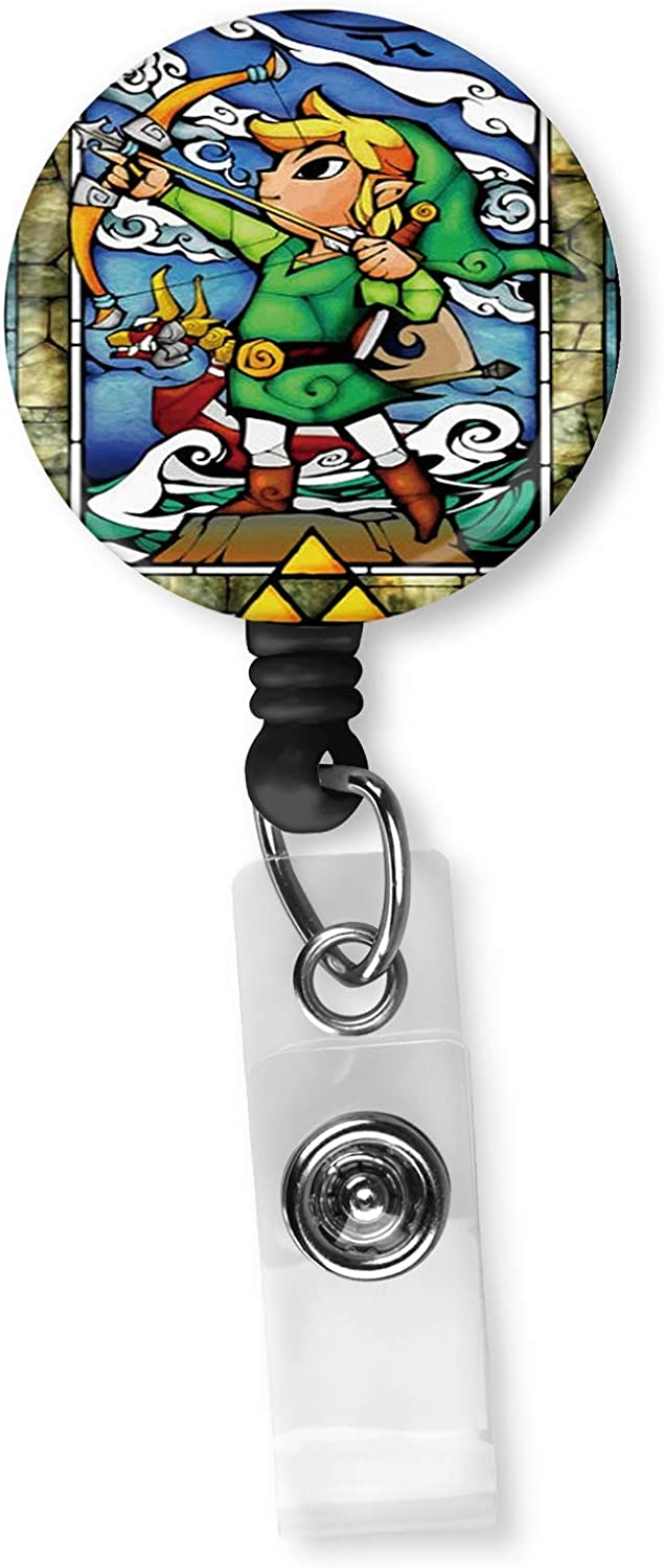 The Legend of Zelda Stained Glass Retractable ID Card Badge Reel with Alligator Clip Name Nurse Decorative Badge Holder Clip on Card Holders
