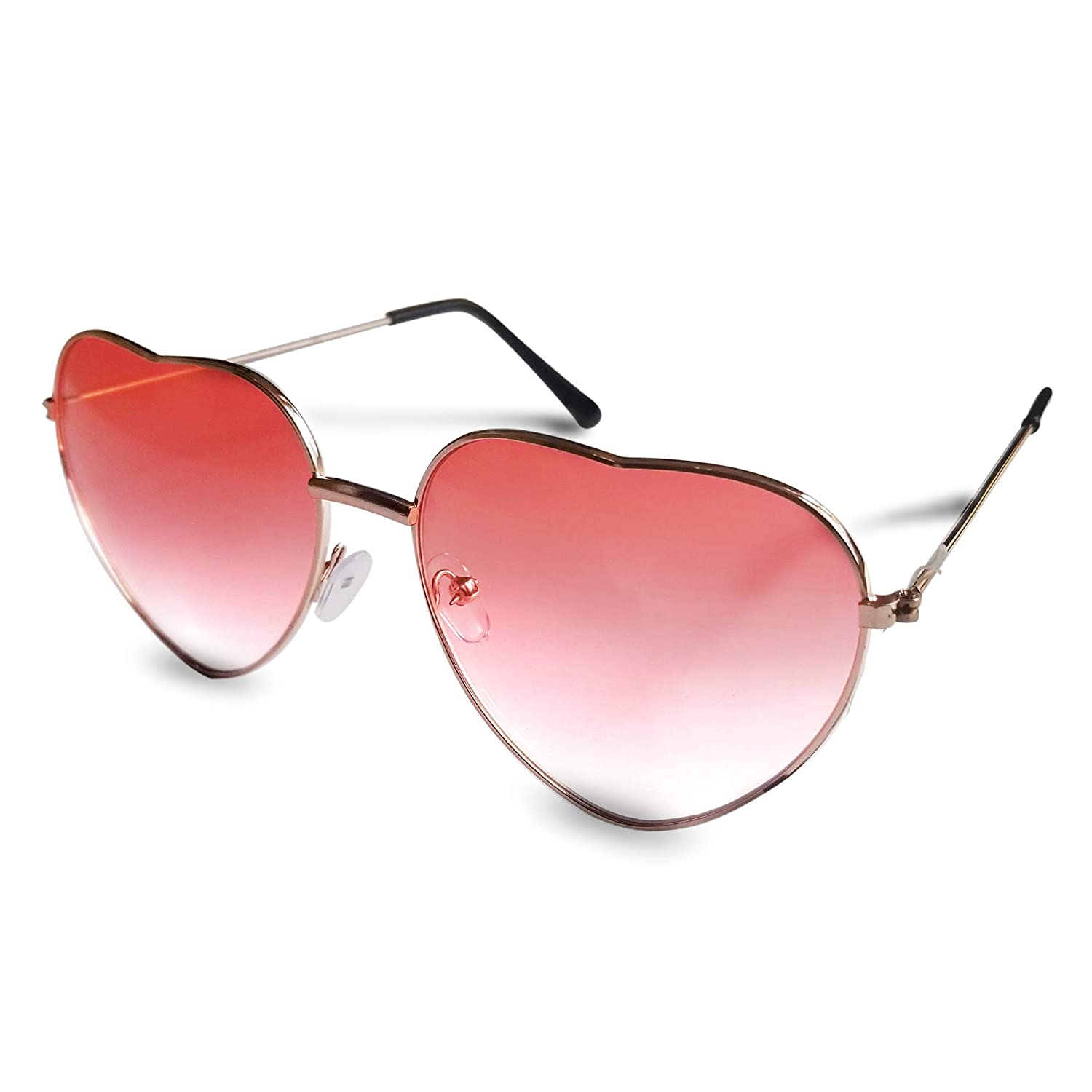 ff63c67eb79 Heart Sunglasses - Pink Lens Heart Shaped Sunglasses for Women and Men.  Metal Frame Red to Pink Heart Glasses in Cute Aviator Style eye glasses.