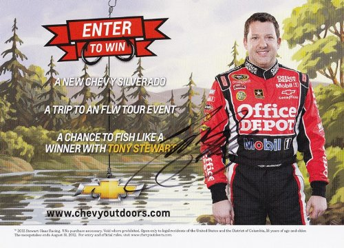 AUTOGRAPHED 2012 Tony Stewart #14 Office Depot Racing CHEVY PROMO 5X7 NASCAR SIGNED Hero Card w/COA - Office Depot Racing