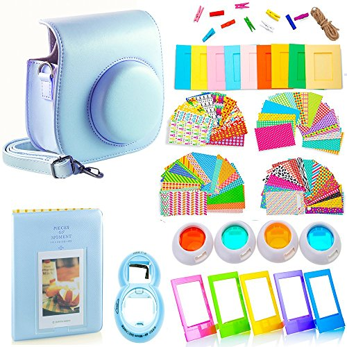 DNO Fujifilm Instax Mini 9/8 Camera Accessories (11 Piece Kit) – Includes Protective Case/ Hanging Frames/ Filters/ Selfie Len/ Photo Album/ Stickers and More – Portable&Perfect Gift (Blue)
