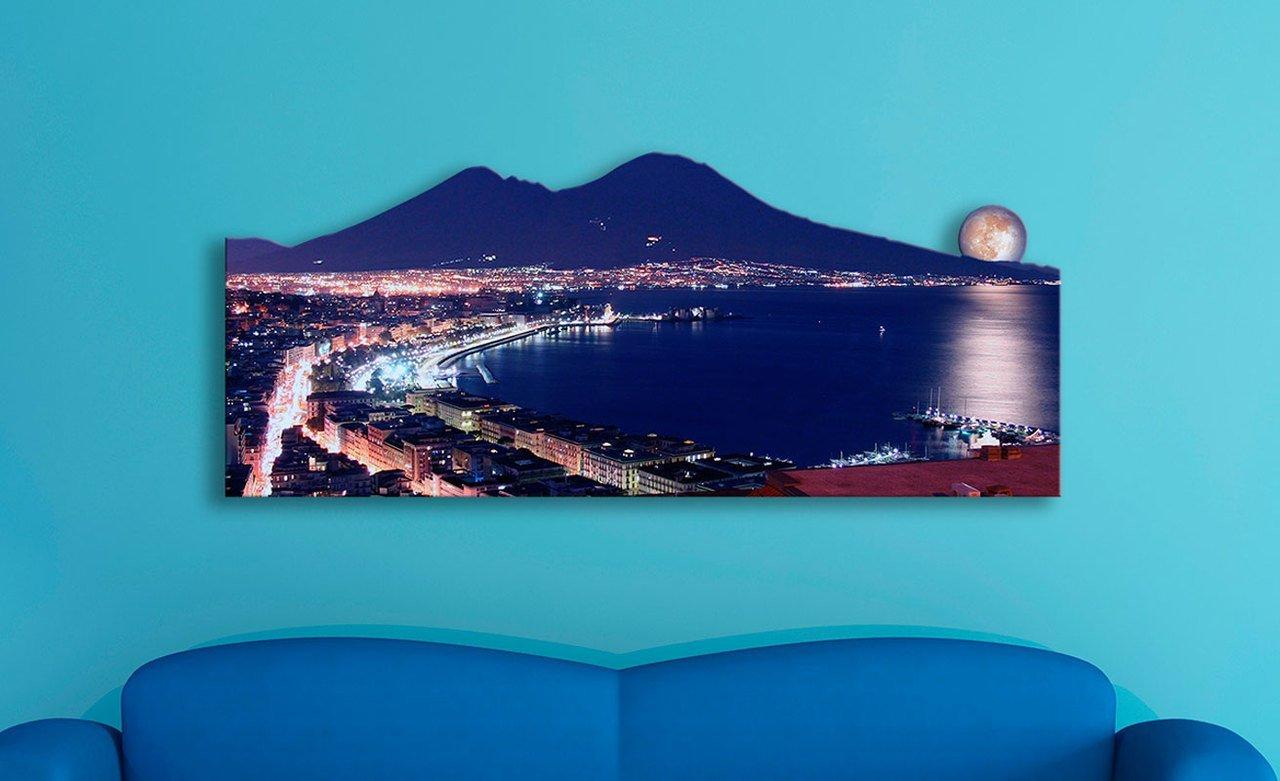 Lupia Quadro Moderno Sagomato Silhouette Circa 55X135 cm Napoli Luna Rossa