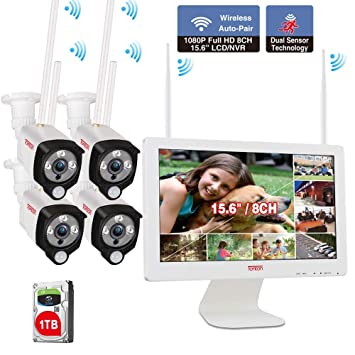 Tonton All In One Wireless Cctv Home Surveillance System 1080p 8ch Wireless Nvr With 15 6 Lcd Monitor 4pcs 2 0 Megapixel Waterproof Outdoor