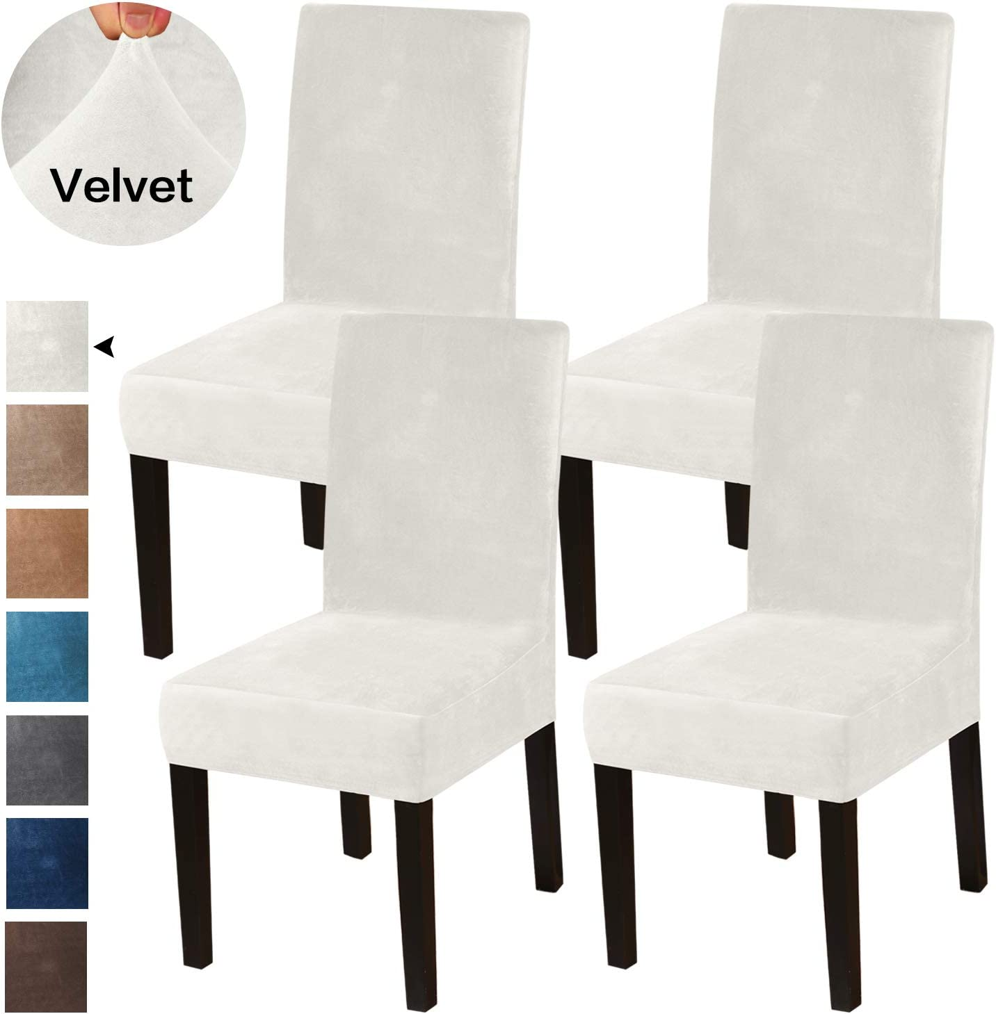 Turquoize Dining Chair Covers Stretch Chair Covers for Dining Room Velvet Chair Protector Covers Slipcover Parson Chair Covers Set of 4 for Hotel Ceremony, Thick Soft Modern Style, Ivory, 4
