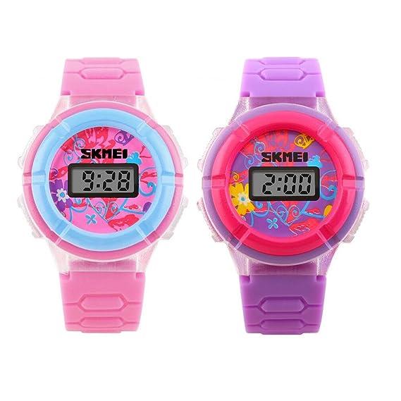Las niñas morado rosa farol electrónico reloj estudiante niños relojes (2 unidades)