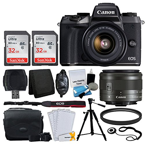 Canon EOS M5 Mirrorless Digital Camera + EF-M 15-45mm IS STM