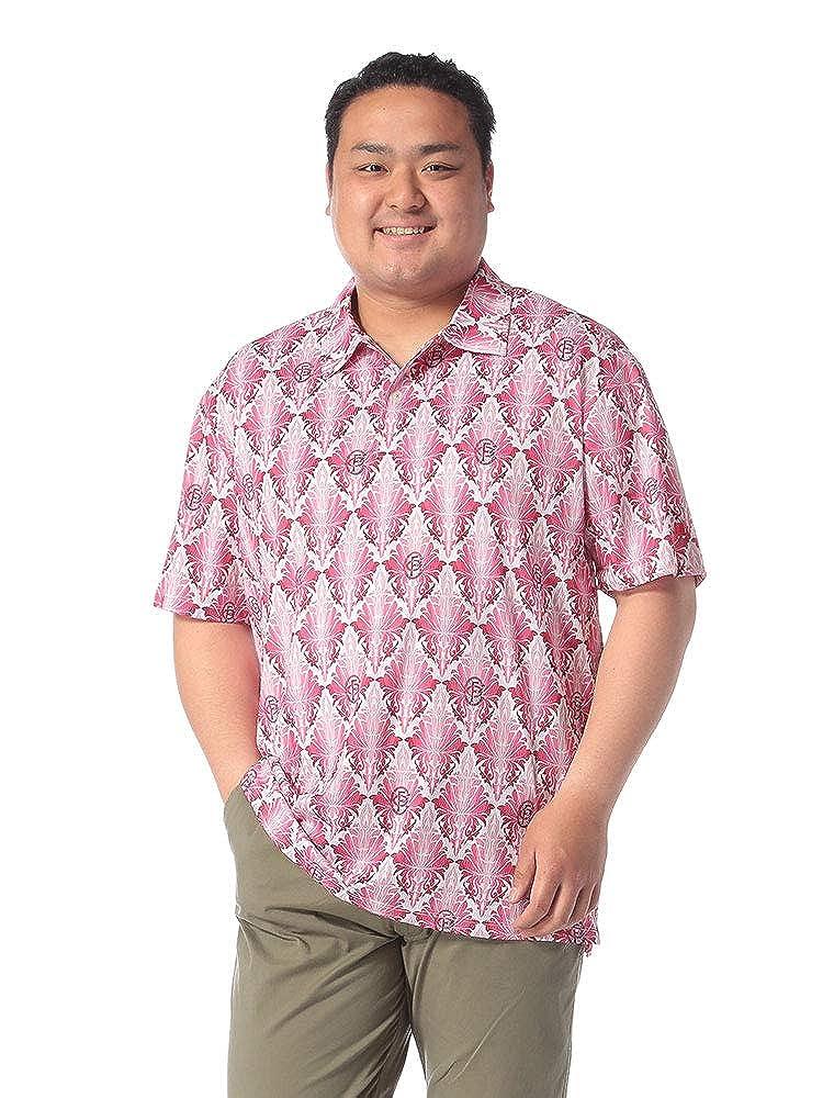 サカゼン FICCE GOLF 大きいサイズ メンズ 吸汗速乾 リーフ総柄 半袖 ポロシャツ X1 ピンク B07RC6PXKY