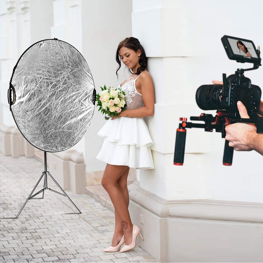 43 inches 5 in 1 Reflectors with 78 inches Light Stand Selens Photography Reflector Boom Arm Stand kit Sandbag and Extendable Holder for Photo Studio Lighting