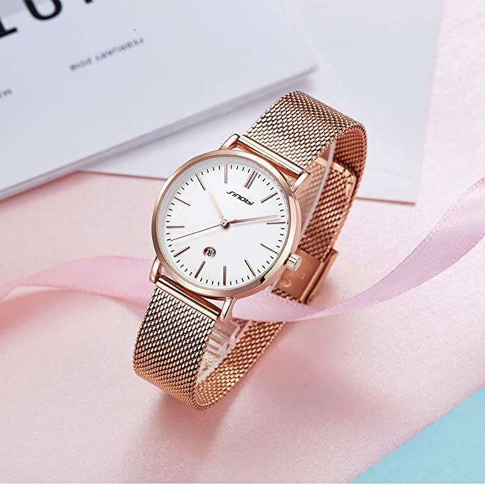 Amazon.com: SINOBI Creative Design Simplicity Women Watch Elegant Diamond Mesh Band Women Watches Ladies Wristwatch (S9709L-Rosegold&Black-Calendar): ...