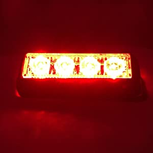 Strobelight Bar 4 LED with Super Bright Emergency Beacon Flash Caution Strobe Light Bar with 17 Different Flashing-2PCS (Red) (Color: Red)