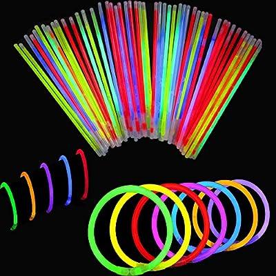 BBM [Solamente 100 Varitas Luminosas y 100 Conectores Reutilizables] Varitas Luminosas Fluorescentes Pulseras Luminosas Para Fiestas Formar Pulseras: Amazon.es: Juguetes y juegos