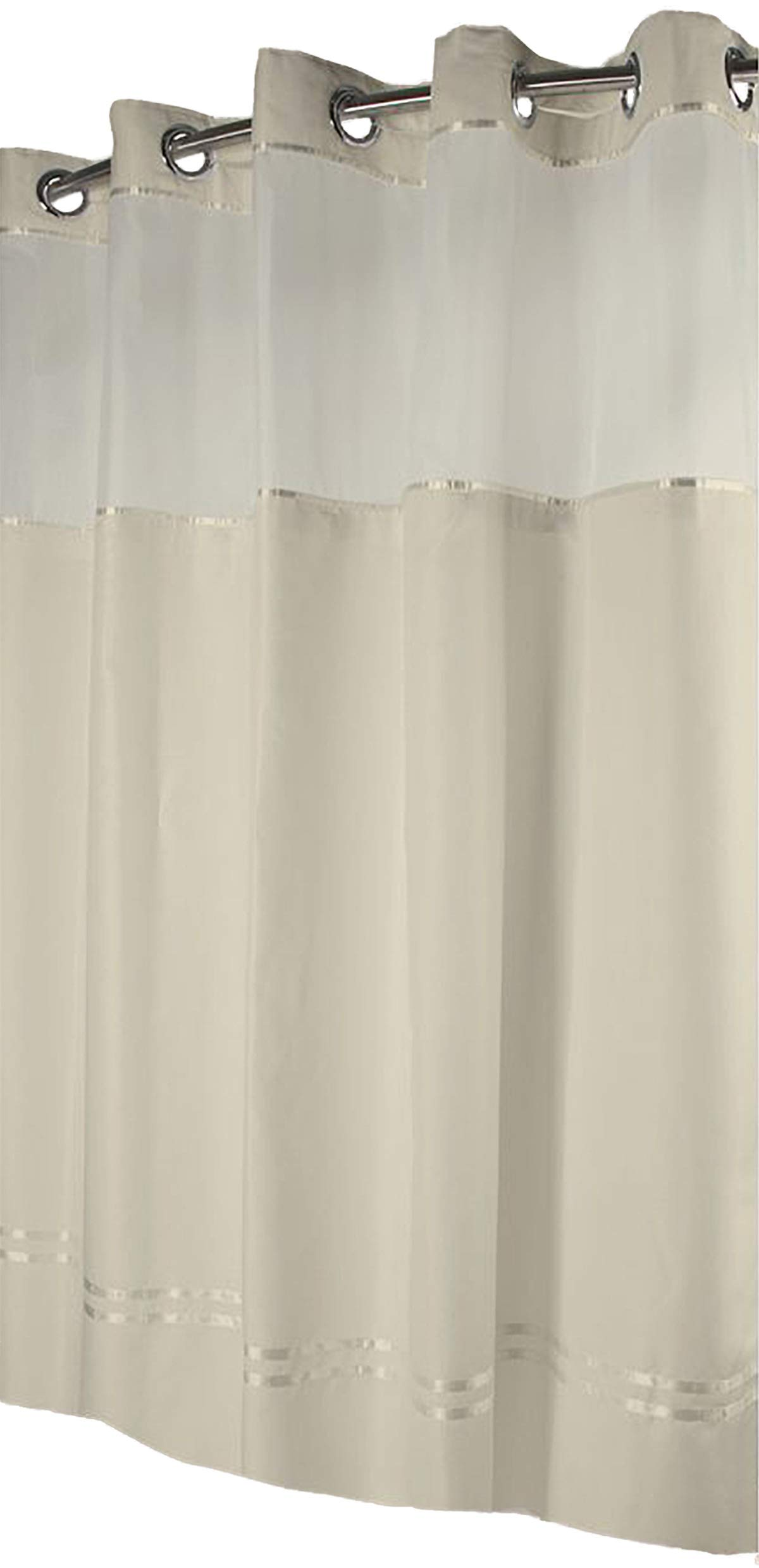 Hookless Monterey Hotel Quality Shower Curtain with Snap in Liner - Beige with Beige Stripe, 71 IN. X 77 IN.