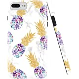 DOUJIAZ Compatible with iPhone 7 Plus Case,iPhone 8 Plus Case,Marble Design Clear Bumper TPU Soft Case Rubber Silicone Skin Cover for iPhone 7 Plus/iPhone 8 Plus- Multiple Purple Pineapple