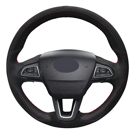 Mewant Customize Made Black Suede Black Leather Steering Wheel Wrap Kit For Ford Focus 3 2015 2018 Kuga 2016 2019 Escape 2017 2019 C Max 2015 2019