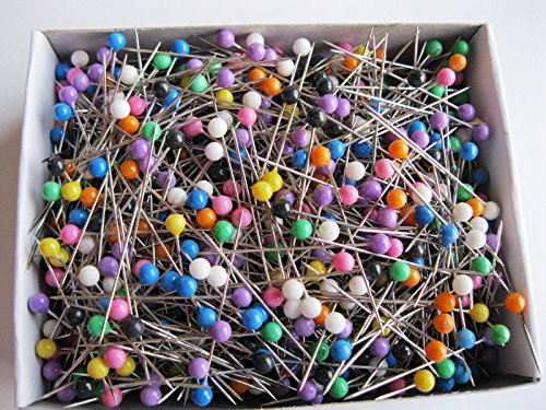"1sets of 1000Pcs Straight Pins 1 1/2"" Shinny Coloured Plastic Pearl Head Dress Maker Pins Multi color Head pins Dressmaking for Embroidery Arts Crafts Embellishment"