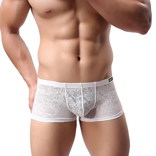Ropa interior masculina ropa interior de hombre Encaje boxeador pantalones cortos sexy ropa interior, YanHoo