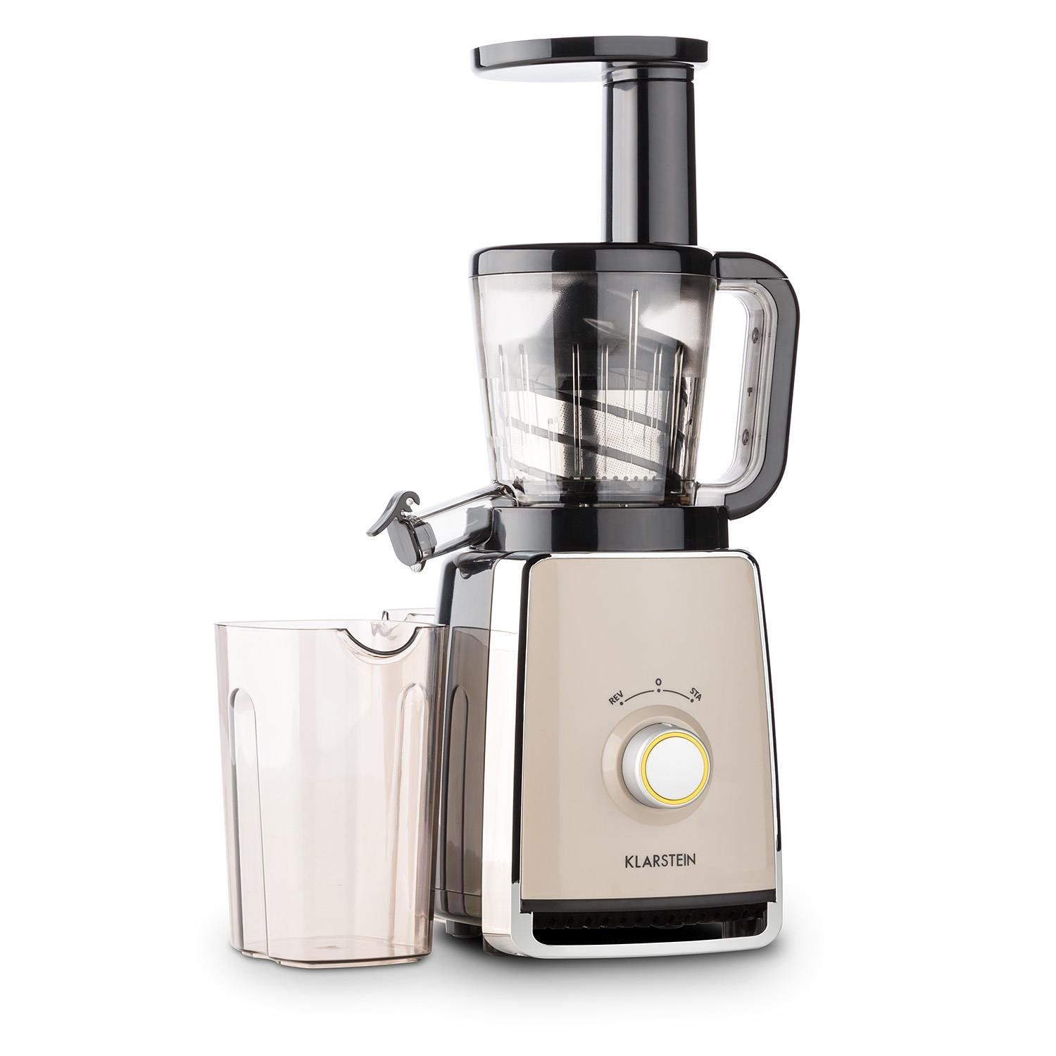 KLARSTEIN Sweetheart Slow Masticating Juicer Extractor • Fruit & Vegetable Cold Press Juicer Machine • 150 W • Slow Speed • Stainless Steel • Reverse Function • Chrome