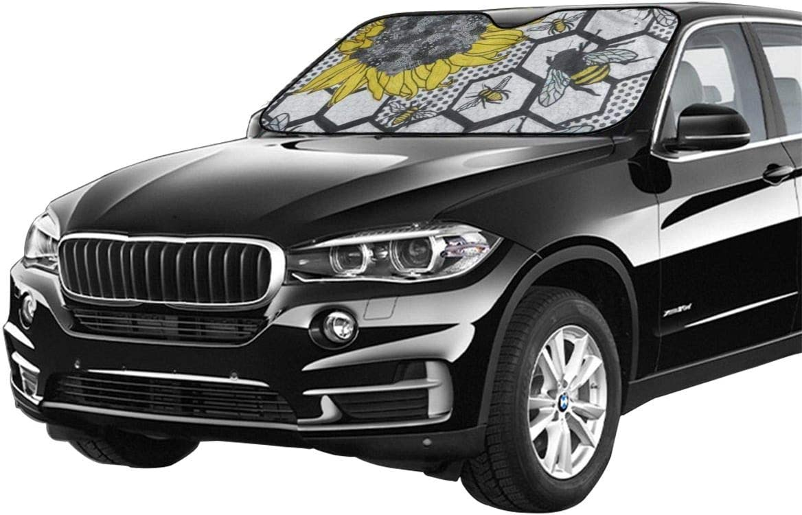 antfeagor Sunflower Bee Beehive Anti Cute Automotive Windshield Sunshades 27.5 X 51 Inch Uv and Sun Protection Cover Auto Sun Shade Keep Cool for Car SUV