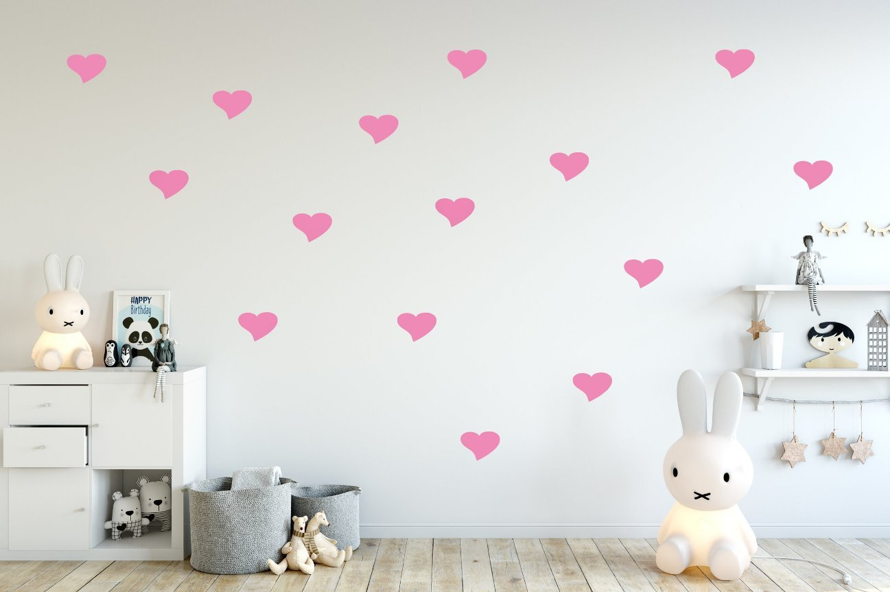 Wandtattoo Herzen in rosa 60 Stück Wandsticker Set