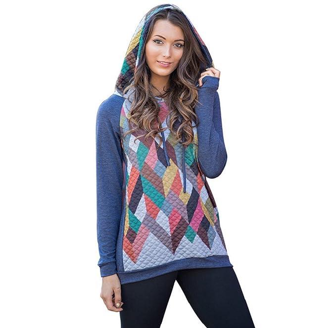 Tongshi Mujeres Geometría impresión del suéter con capucha Sudadera Tops camisas de la blusa (EU