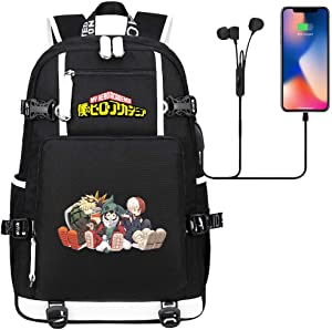 MPOX My Hero Academia Backpack-Laptop Backpack with USB Charging Port Kids Travel Backpack College Bookbag