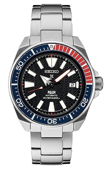 Seiko Prospex Padi Especial Edition Samurai del Hombres Negro Dial Acero Inoxidable Reloj de Pulsera - Modelo: srpb99: Seiko: Amazon.es: Relojes