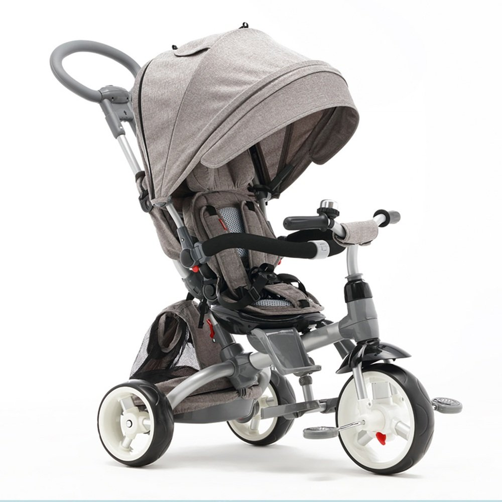 HAIZHEN マウンテンバイク 回転式シート&ゴムタイヤ付き1つのEasy Tricycle Kids Trike 新生児 B07CG9PCTXグレー