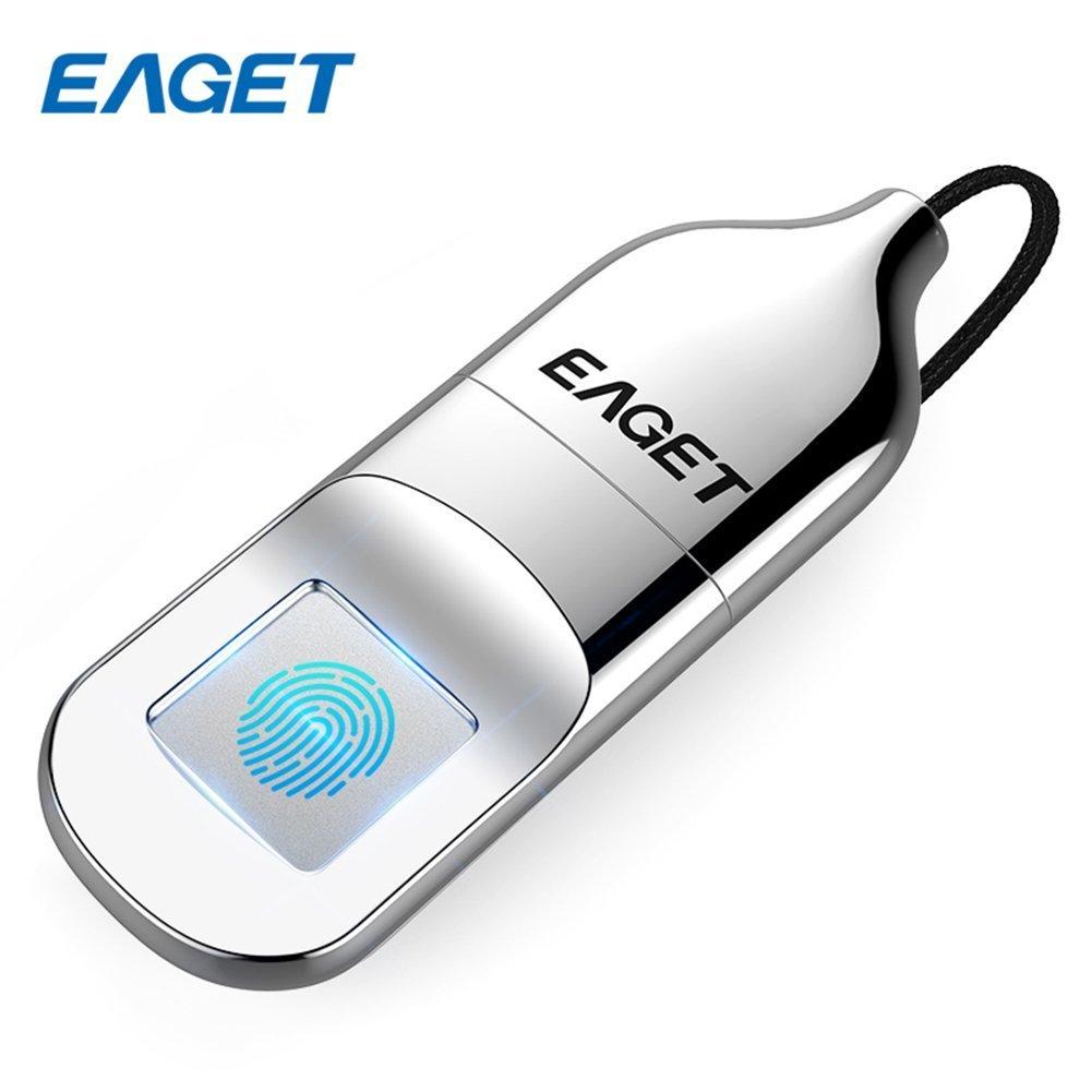 Eaget FU5 Fingerprint Encryption USB Flash Drive Fingerprint U Disk Data Security Protection Identification Business Office Metal Silver (32GB)