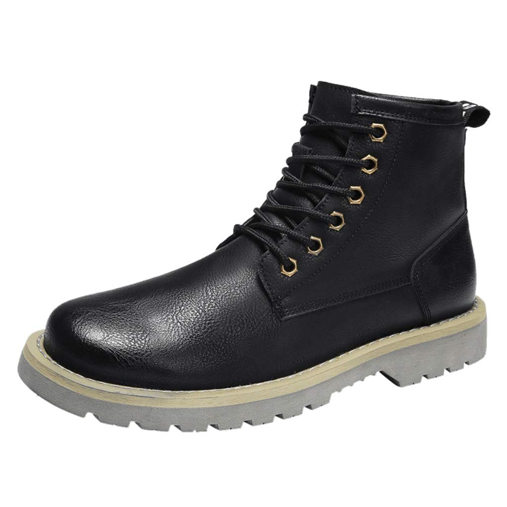 【MOHOLL】 Men's Autumn Casual Booties Fashion Motorcycle Boots Retro Round Boots Wingtip Anckle Boots Black
