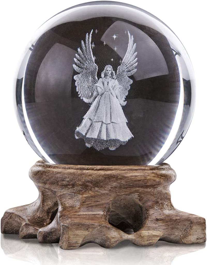 3D Angel Figurines Full Sphere Crystal Ball Laser Engraved Paperweight Home Art Decor Crafts(Clear)