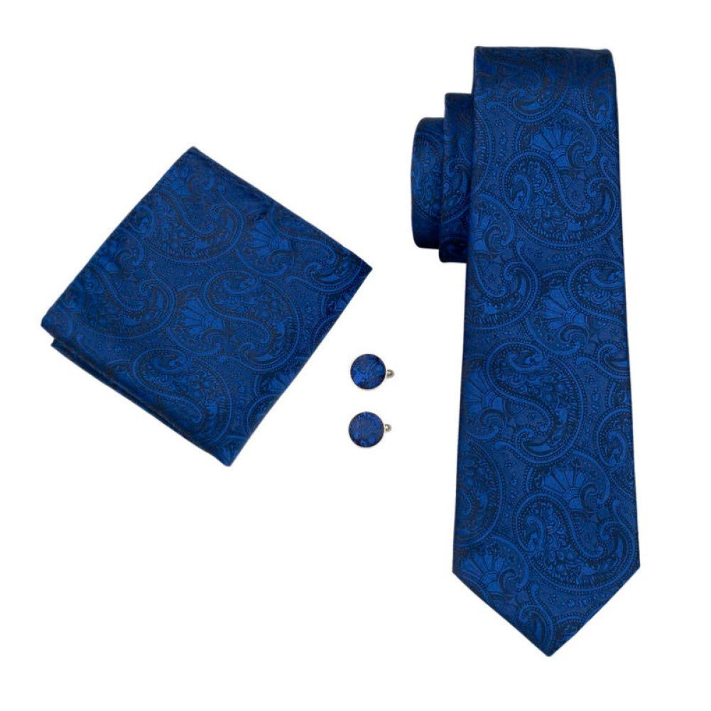 WOXHY Moda Hombre Corbata 100% Azul De Seda De Paisley Corbata ...