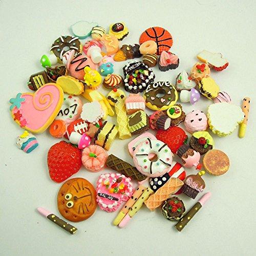 Lieomo 50pcs Kawaii Resin Food Heart Cookie Bread Artificial Cake Cabochons Cameo Home Garden Decor