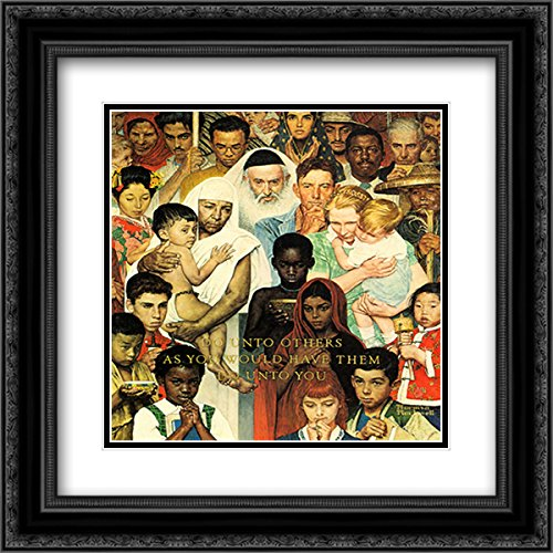 Golden Rule 2x Matted 21x22 Black Ornate Framed Art Print by Norman Rockwell