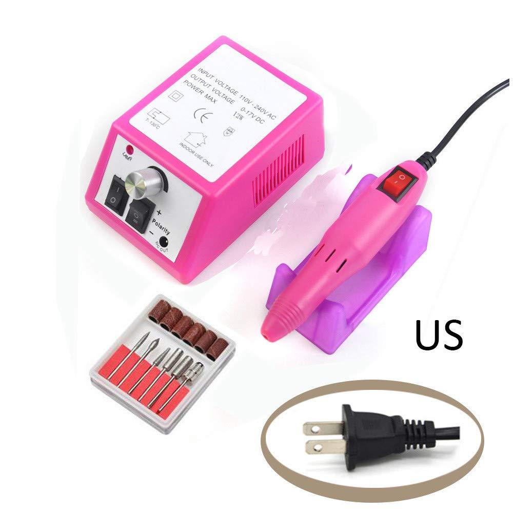 Chartsea Electric Acrylic Nail Art File Drill Set Manicure Machine Sand Drill Pink Kit (A)