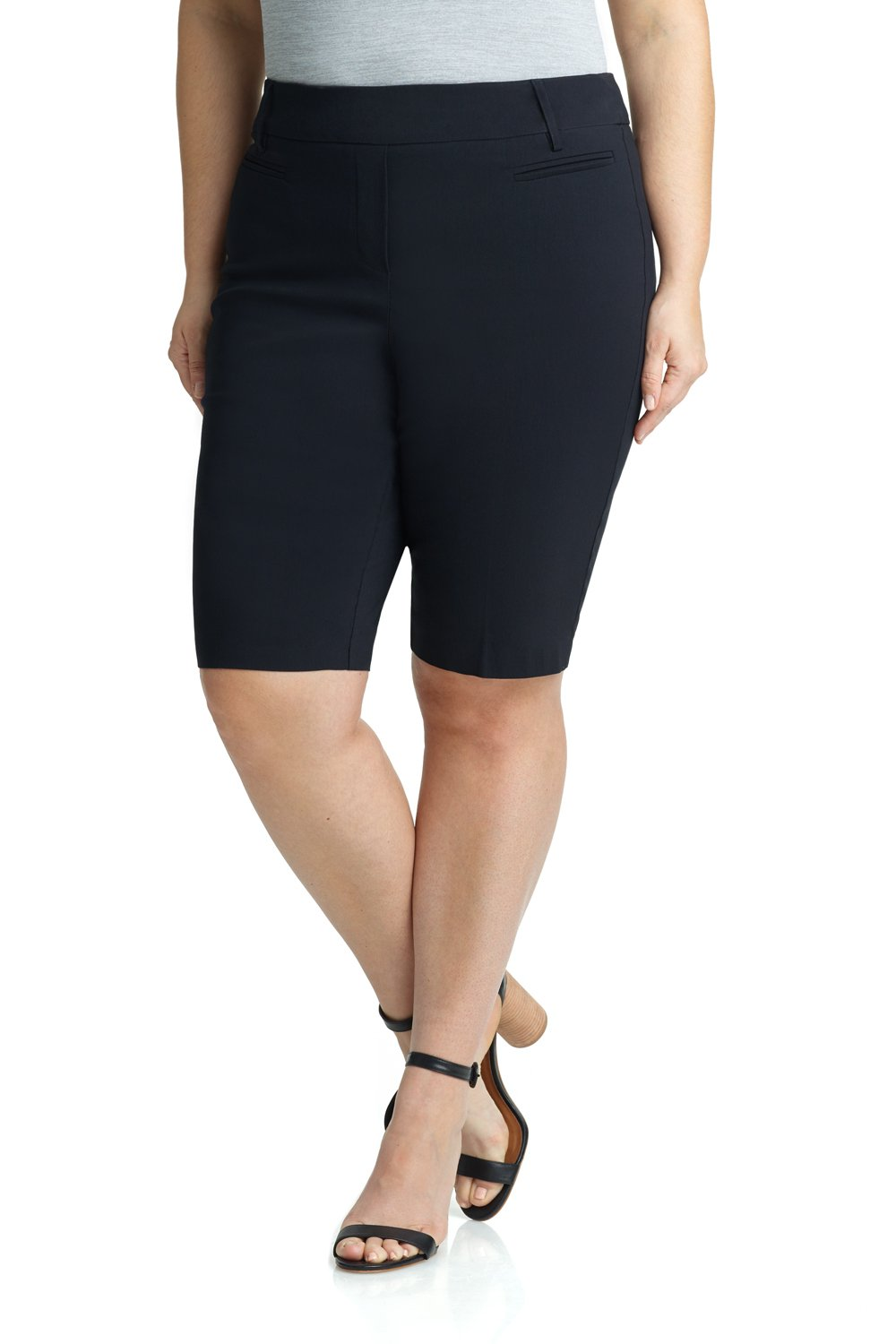 REKUCCI Women's Ease In To Comfort Curvy Fit Plus Size Modern City Short (14W,Black)