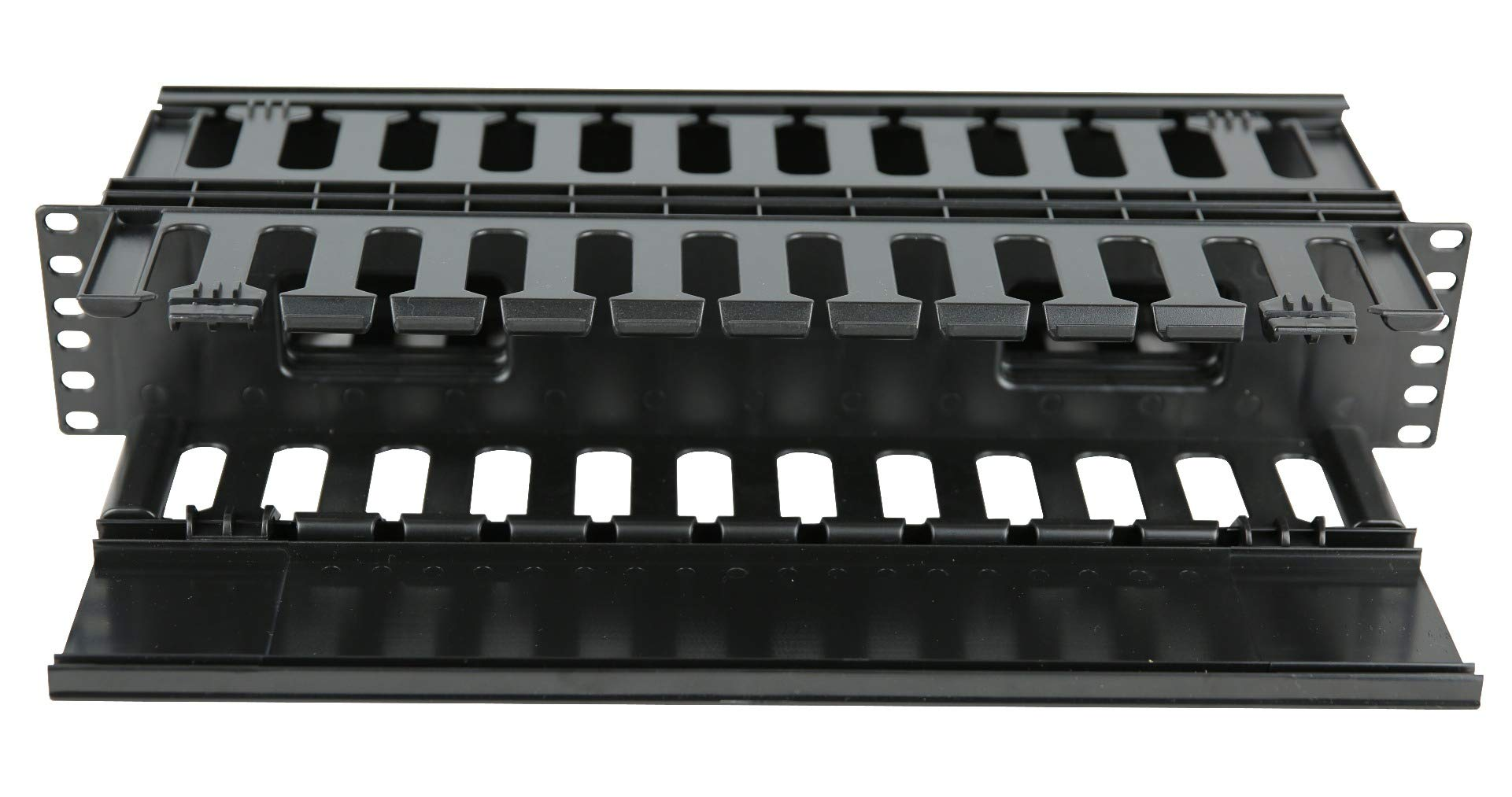 2U Horizontal Double Sided Finger Duct Cable Manager 19'' Rack Mount by Raising Electronics (Image #3)