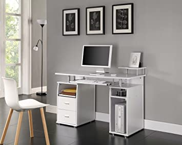 COMPUTER DESK HOME OFFICE FURNITURE PC TABLE WHITE NEXT DAY