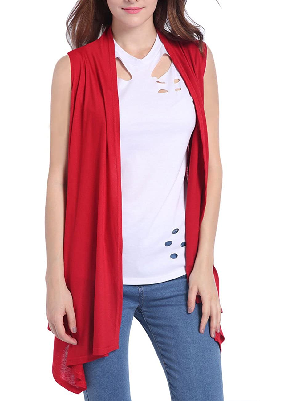 SOMTHRON Women's Sleeveless Blouse Pullover Asymmetric Open Knitted Cardigan Sweater
