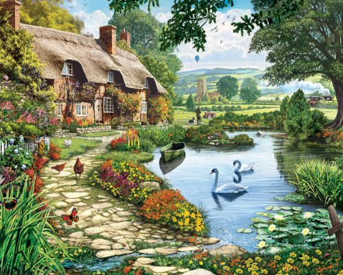 Lakeside Path - White Mountain Puzzles Lakeside Cottage - 1000 Piece Jigsaw Puzzle