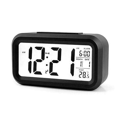 TuKnon Despertador Digital Reloj Digital LED Alarma Reloj con Snooze, Retroiluminación, luz de Noche