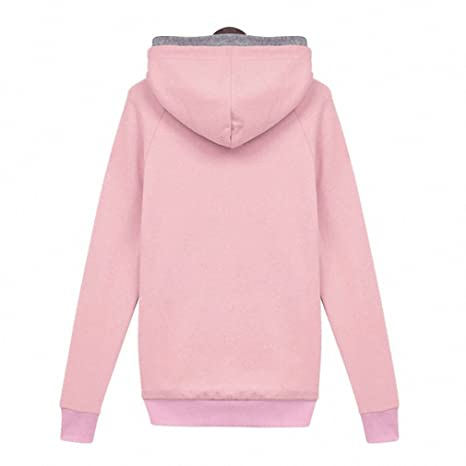 Women Autumn Winter Sweatshirt Casual Double Hoodies Long Sleeve Female Pullover Loose Tops Sweatshirts Womens Clothings pink L at Amazon Womens Clothing ...