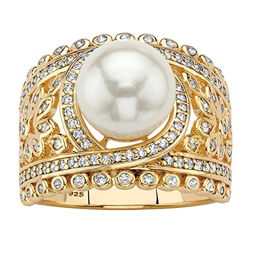 14K Yellow Gold over Sterling Silver Simulated Pearl and Cubic Zirconia Floral Ring Size 7