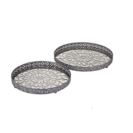 Set de 2 Shabby Chic Metal de filigrana y cristal decorativo bandejas 18 ...