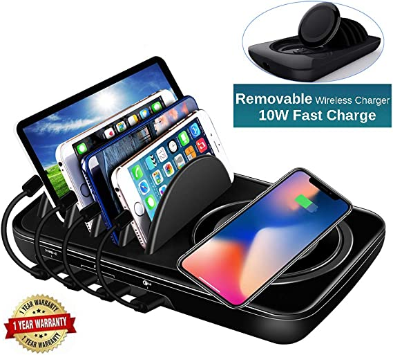 Wireless Charging Station Black Multiple USB Charger 8-Port /& 1 Wireless Qi Desktop Charging Station Hub with Quick Charge 3.0 USB Port