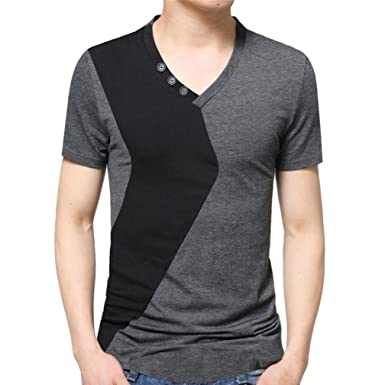 5d803a5865bc Amazon.com  Elogoog Hot Sale 2018 Fashion Personality Mens Casual Slim  Fitted Color Block V-Neck Short Sleeve Tee T-Shirt  Clothing