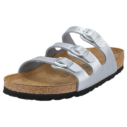 f40e543629e2 Birkenstock Florida Birko-Flor Narrow Fit Womens Sandals Silver - 40 ...