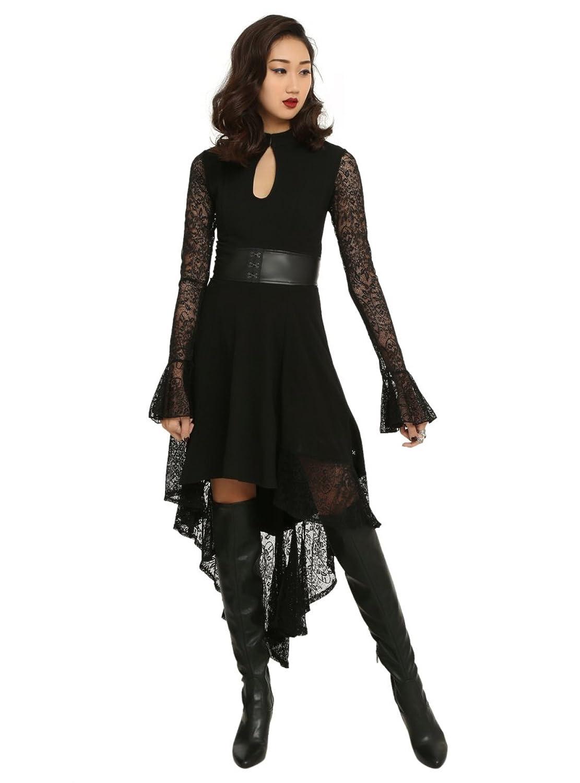 Royal bones black lace sleeve salem dress