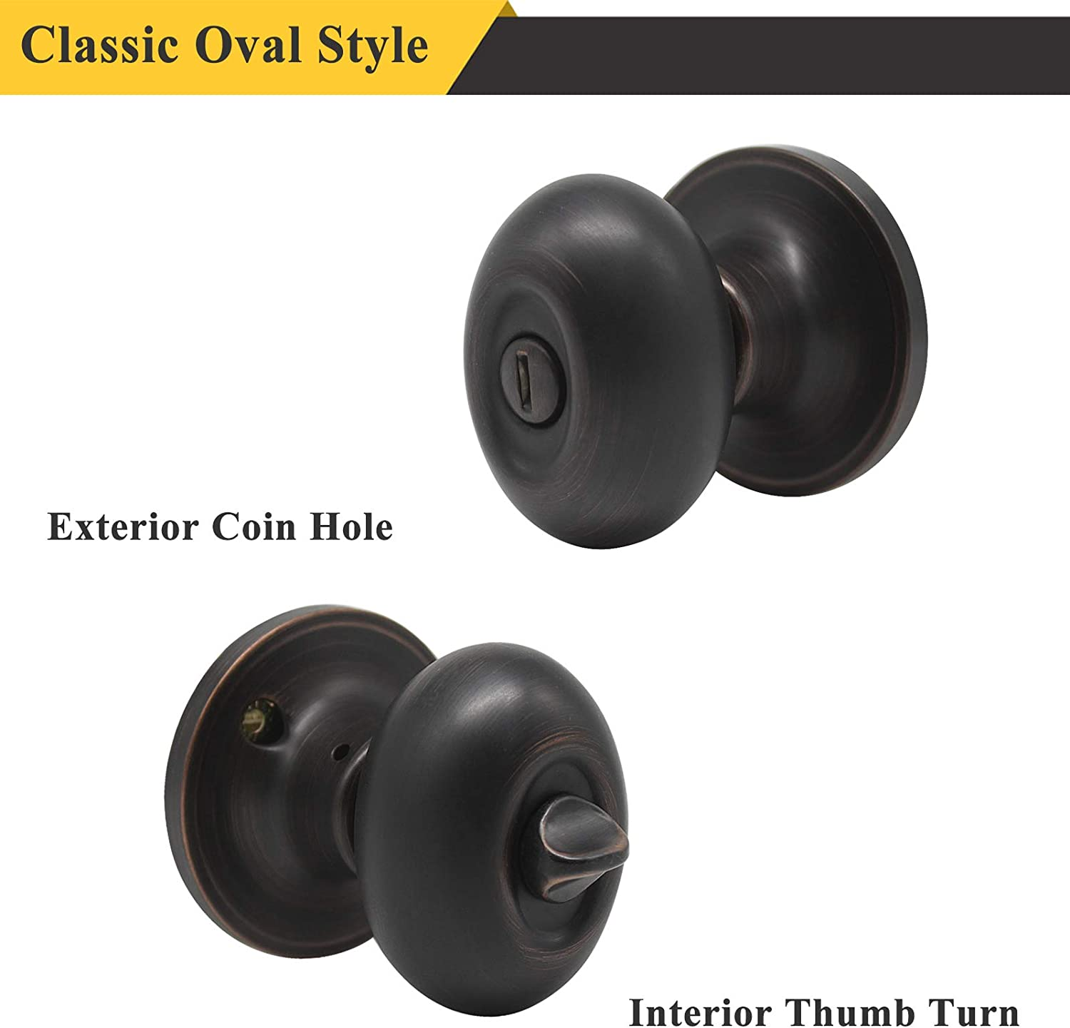 Probrico Privacy Door Knobs Handles Bed and Bath Keyless Oil Rubbed Bronze Locksets 10 Pack